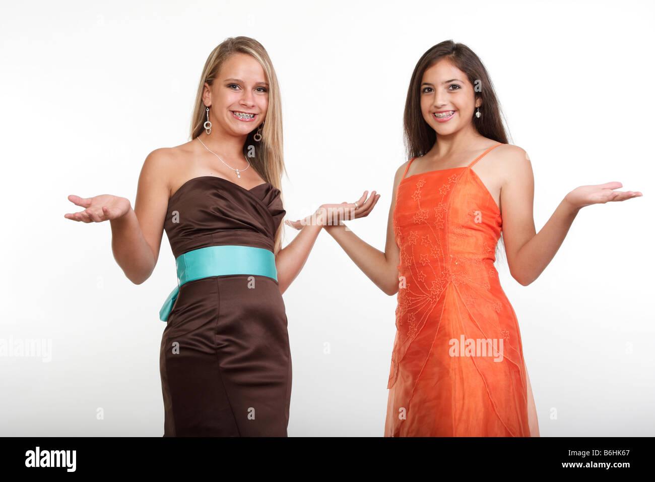 Two teen girls in prom dresses having fun Stock Photo: 21286559 - Alamy