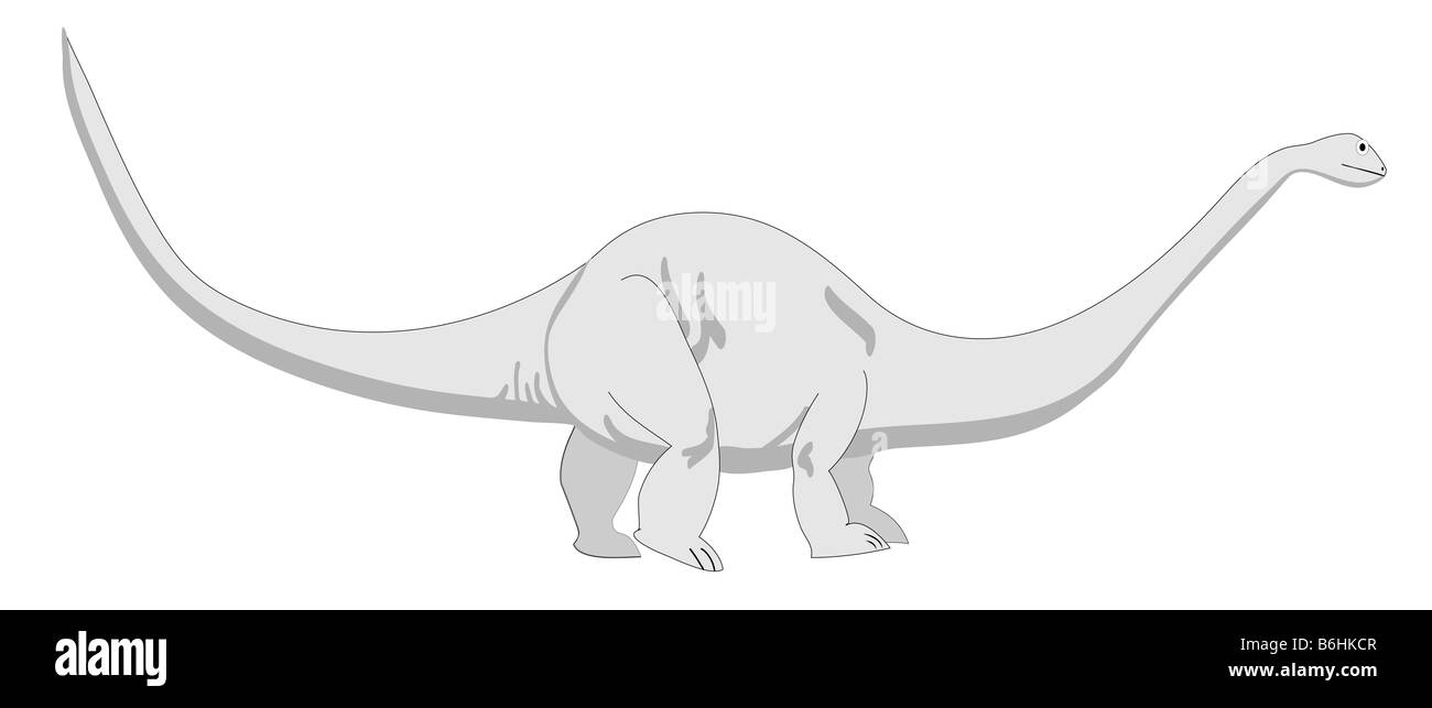 This is a vector illustration of a Brontosaurus also known as an  Apatosaurus. It is amongs the largest dinosaur. - Stock Image