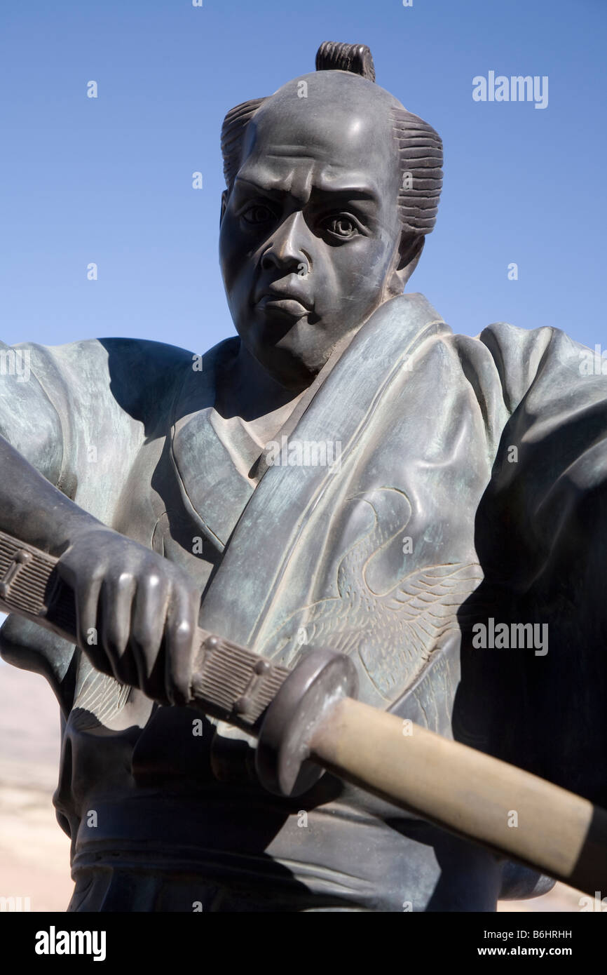 Samurai Warrior statue at the Health food Store, Rodeo, New Mexico, USA - Stock Image