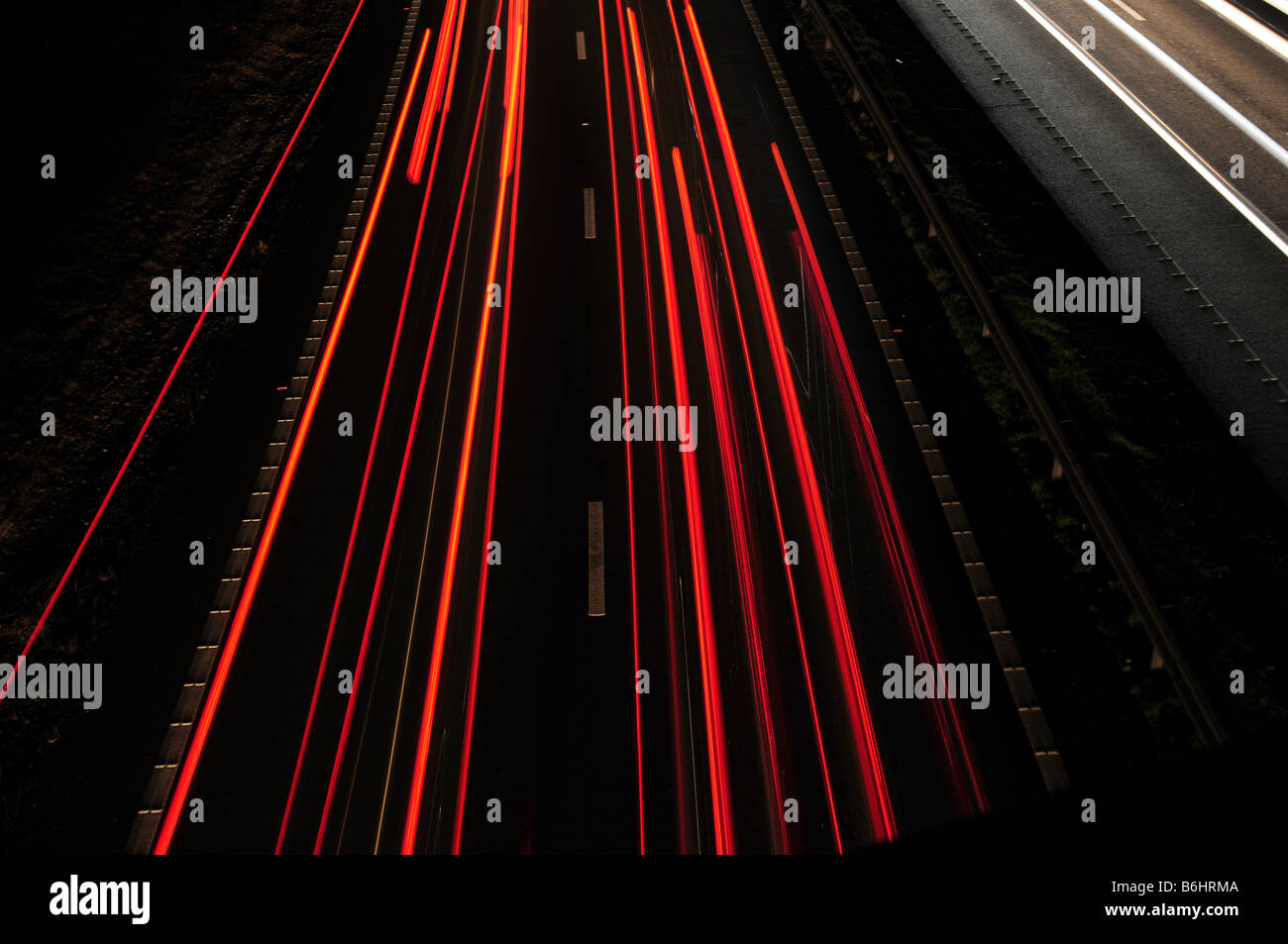 Traffic tail lights 'Long Exposure' at night - Stock Image