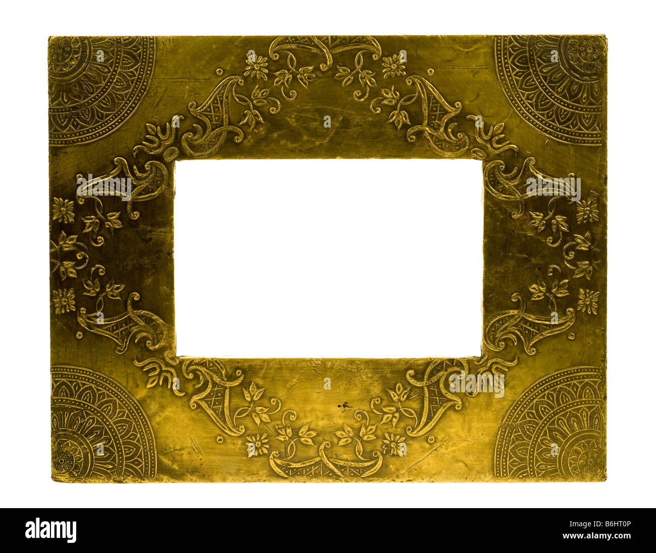 metal photo frame isolated on a white background - Stock Image