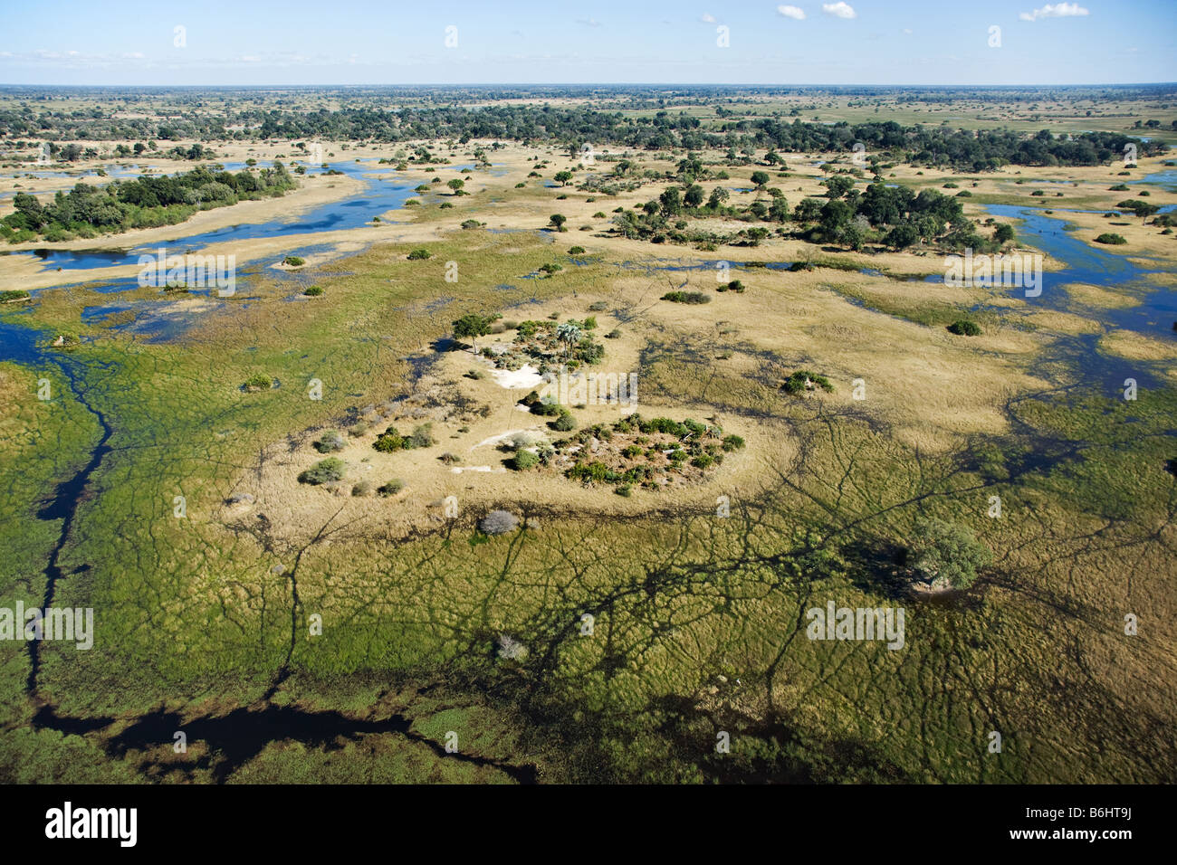 Aerial view of islands and waterways Central Okovango wilderness area in the Delta Stock Photo