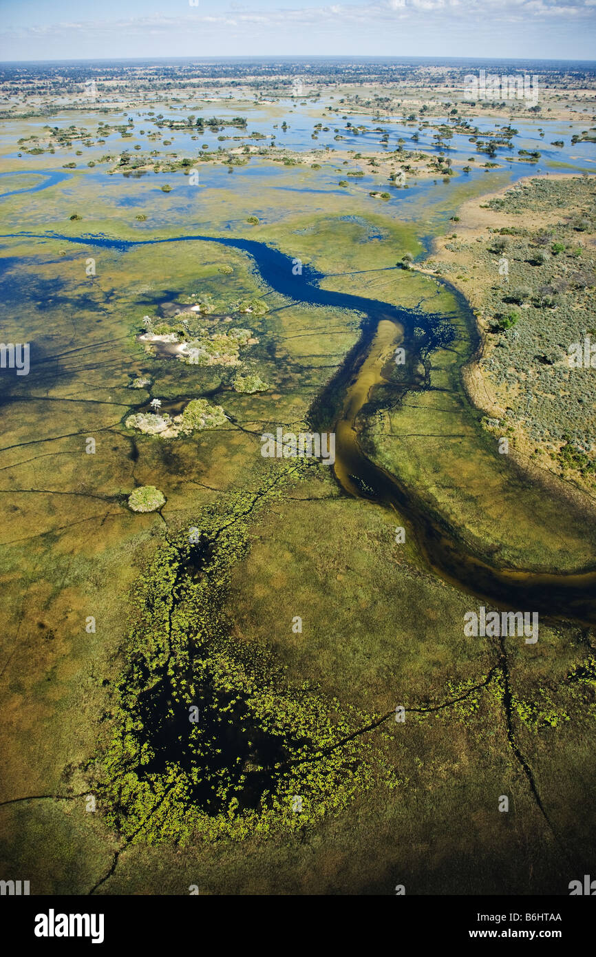 Aerial view of islands and waterways Central Okovango wilderness area in the Delta - Stock Image