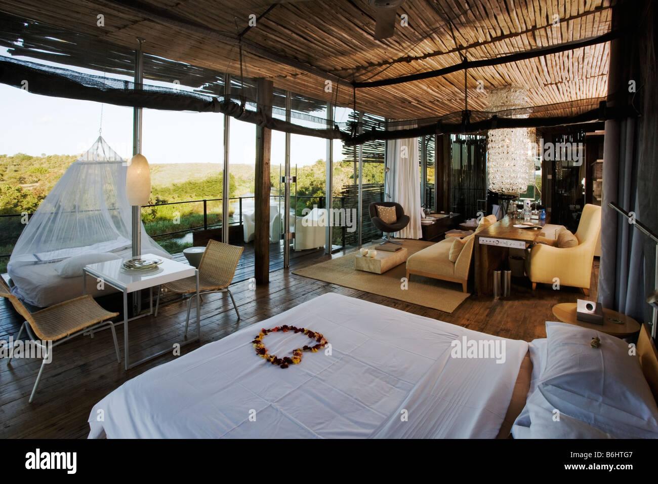 Bedroom suite at Singita Lebombo Lodge Kruger National Park - Stock Image