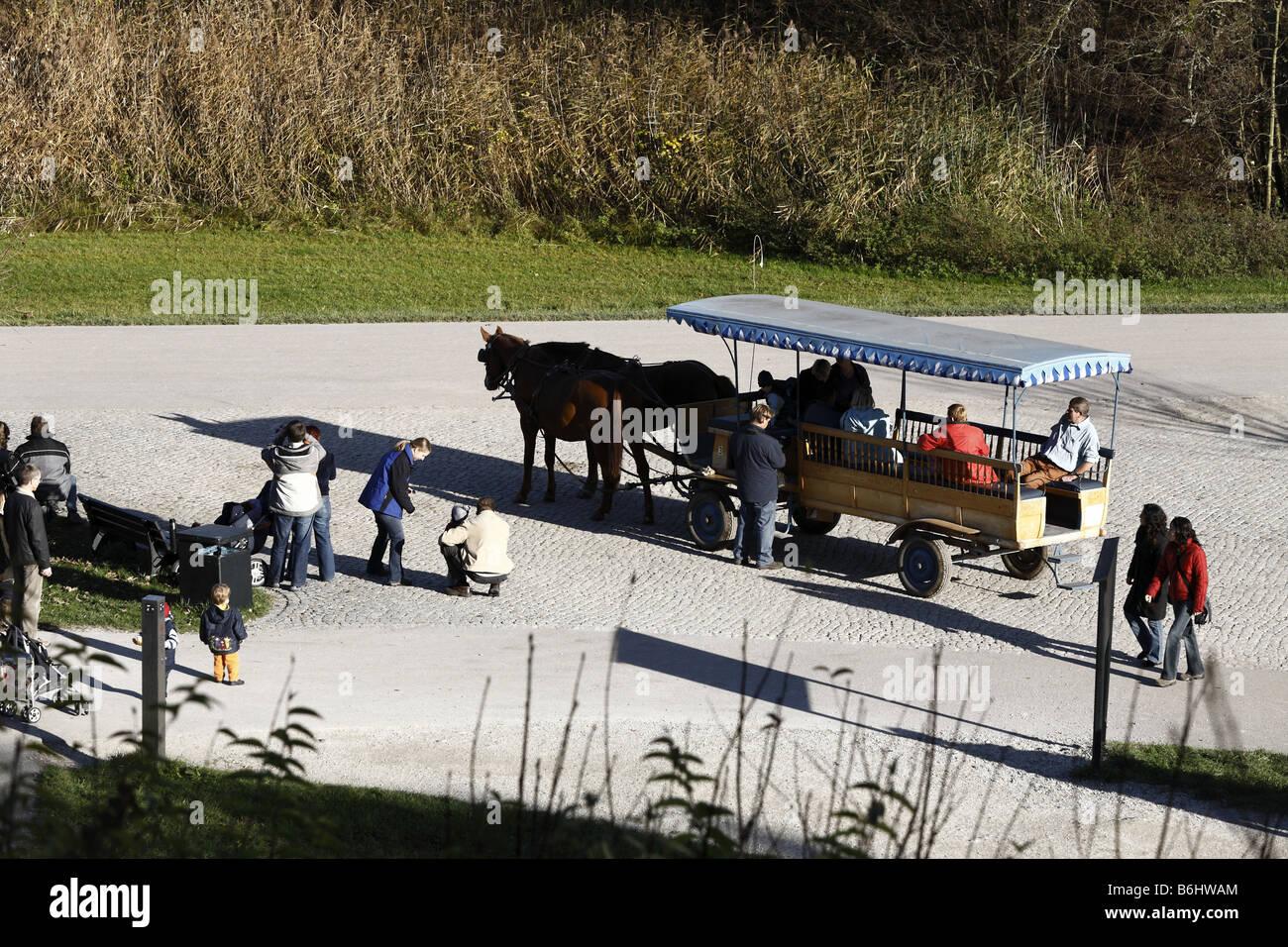 Horse Carriage Herren Island Chiemsee Chiemgau Bavaria Germany - Stock Image