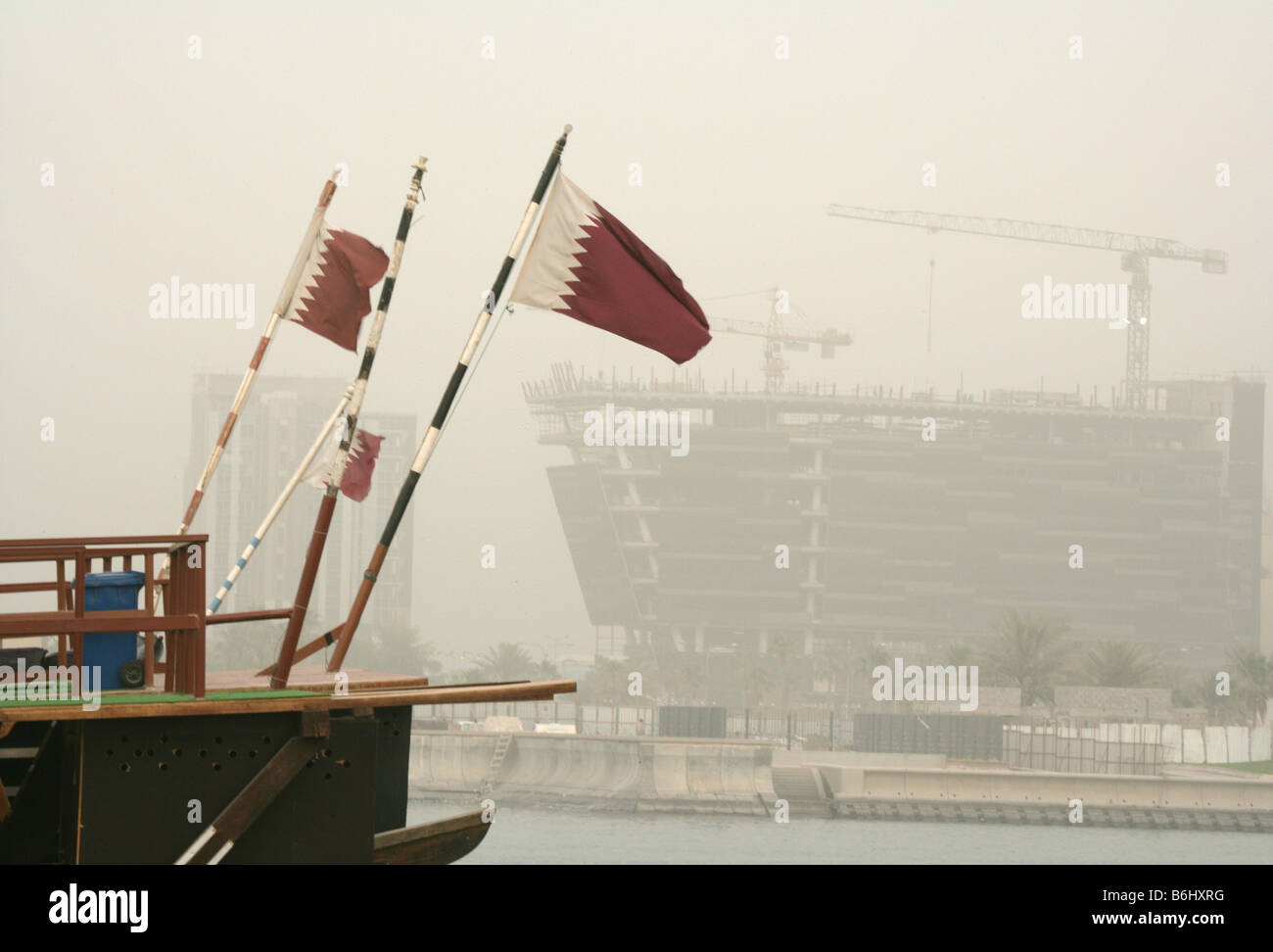 Qatari flags decorating traditional boats, Doha Bay, Qatar Stock Photo