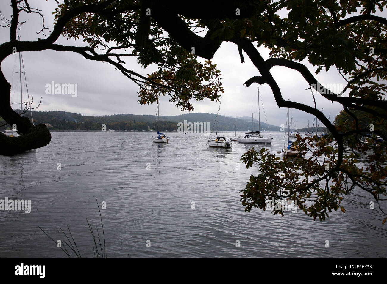 An Autumn view across Lake Windermere in the Lake District - Stock Image