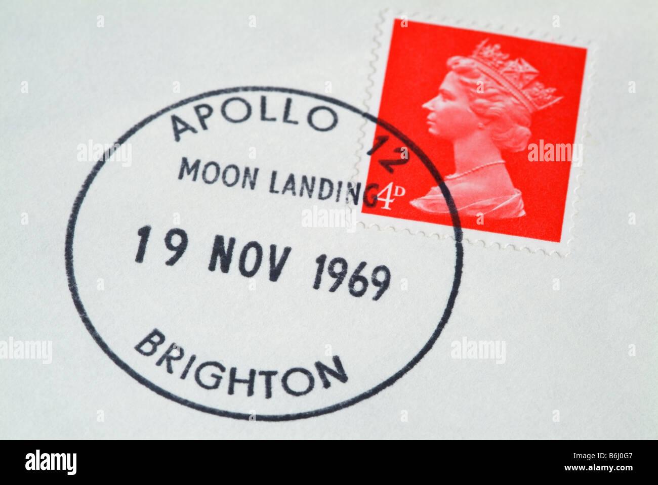 Apollo 12 Moon landing postmark on a UK letter. - Stock Image