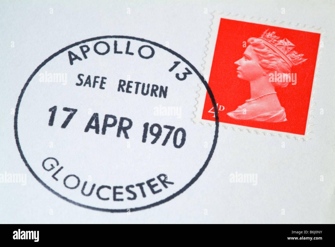Apollo 13 safe return postmark on a UK letter. - Stock Image