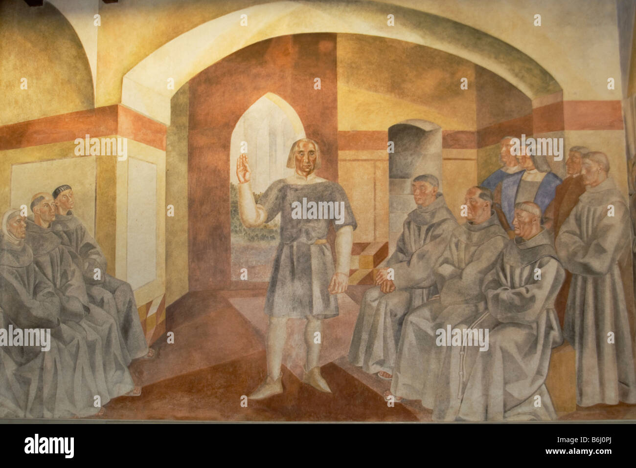 Conversations between Christopher Columbus and the Franciscan monks - Stock Image
