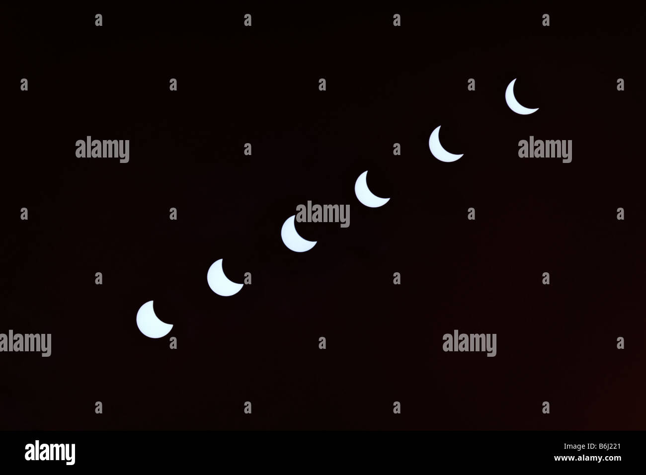 Solar eclipse sequence. 11th August 1999. - Stock Image