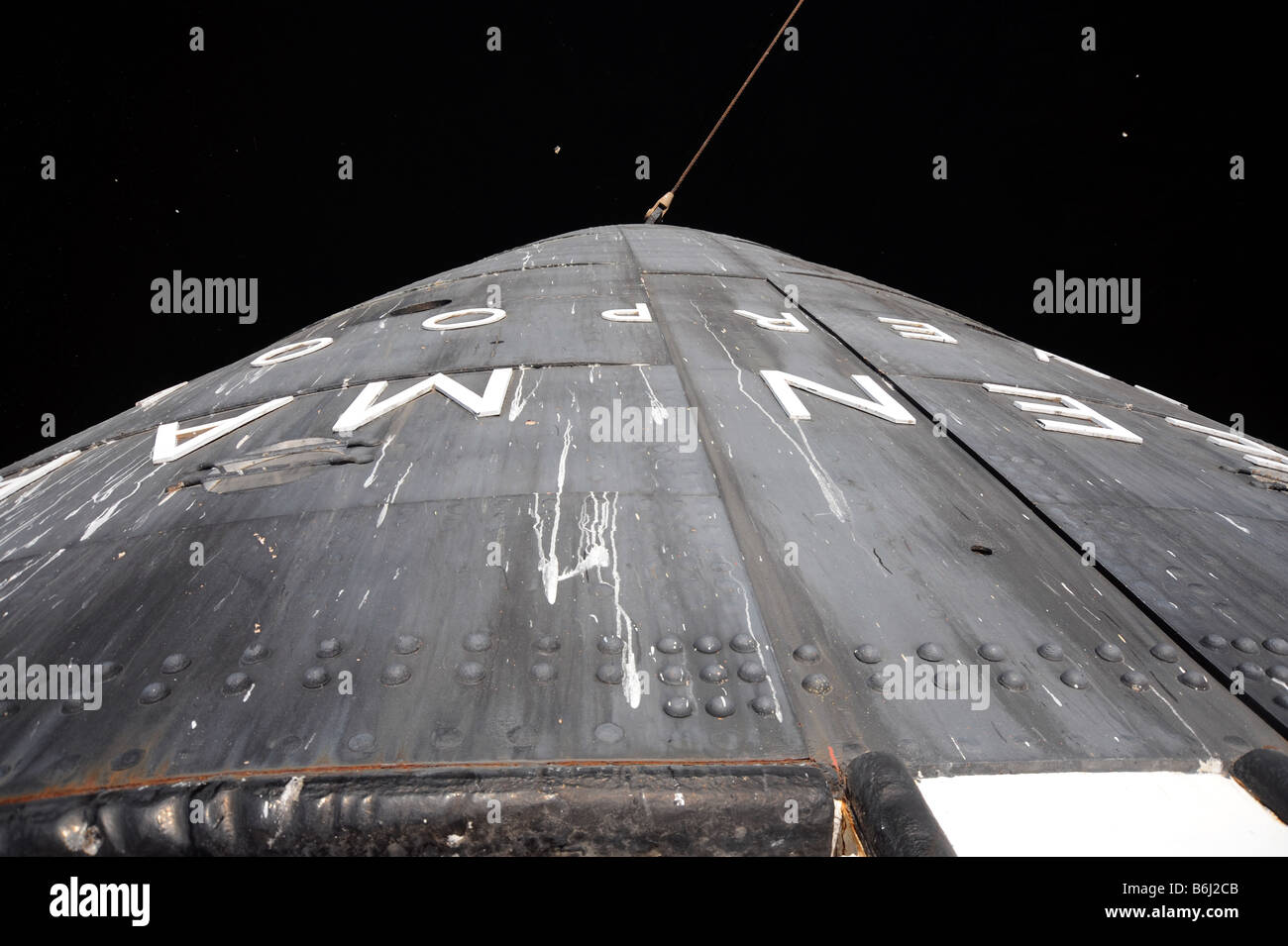 Unusual view of the rear (aft) of the old Queen Mary liner and her name lettering Stock Photo