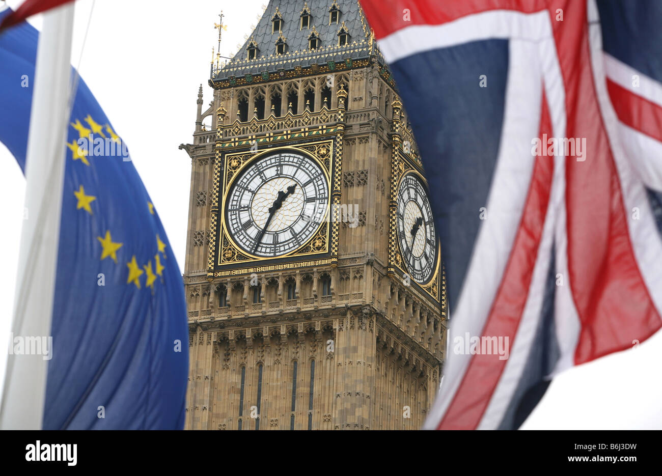 Big Ben photographed with Union Jack and European Union flags London - Stock Image