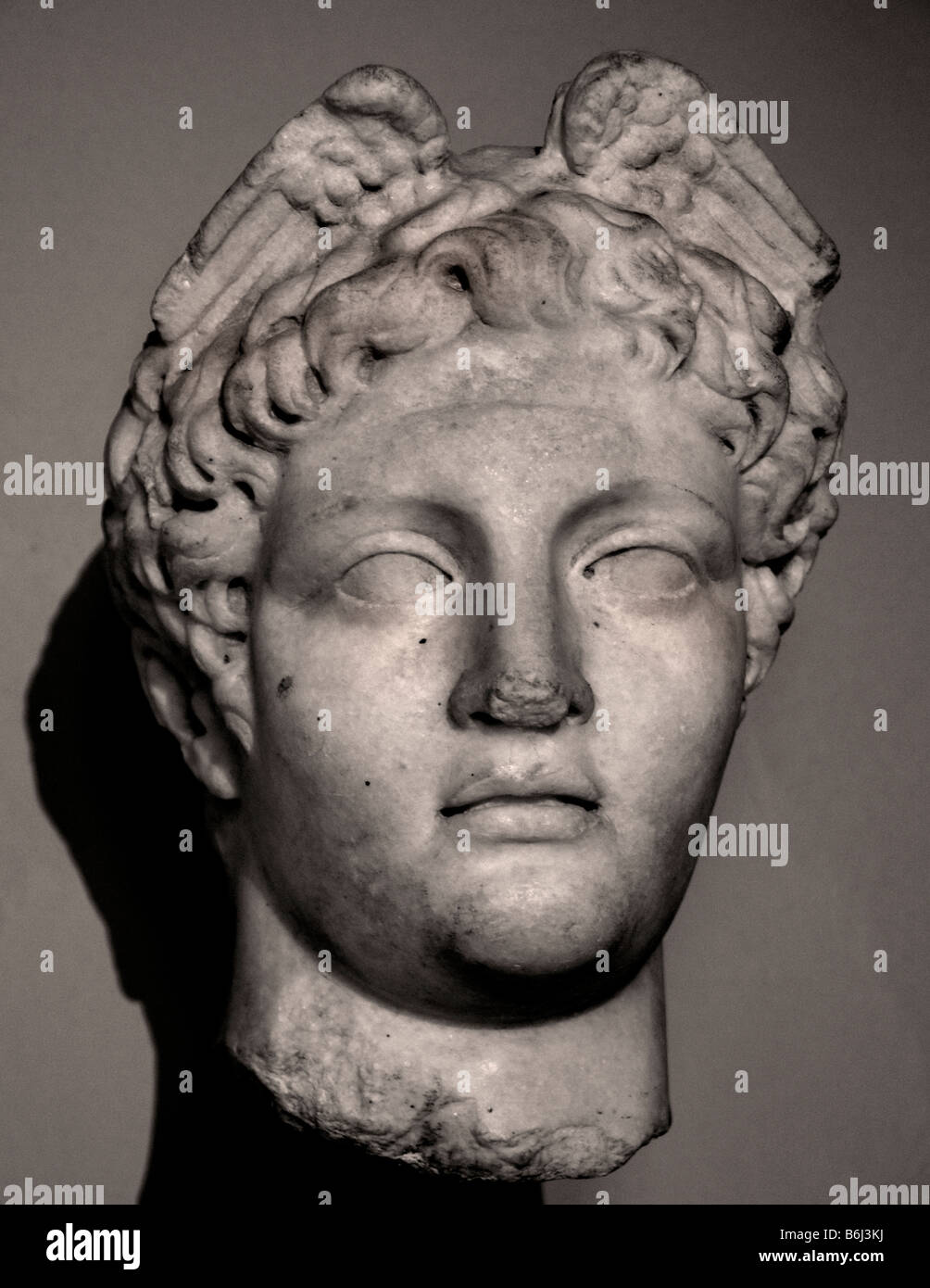 Head of Hermes god of Dexterity skill messengers thief and guide marble Pergamum Bergama Roman 1st century AD - Stock Image