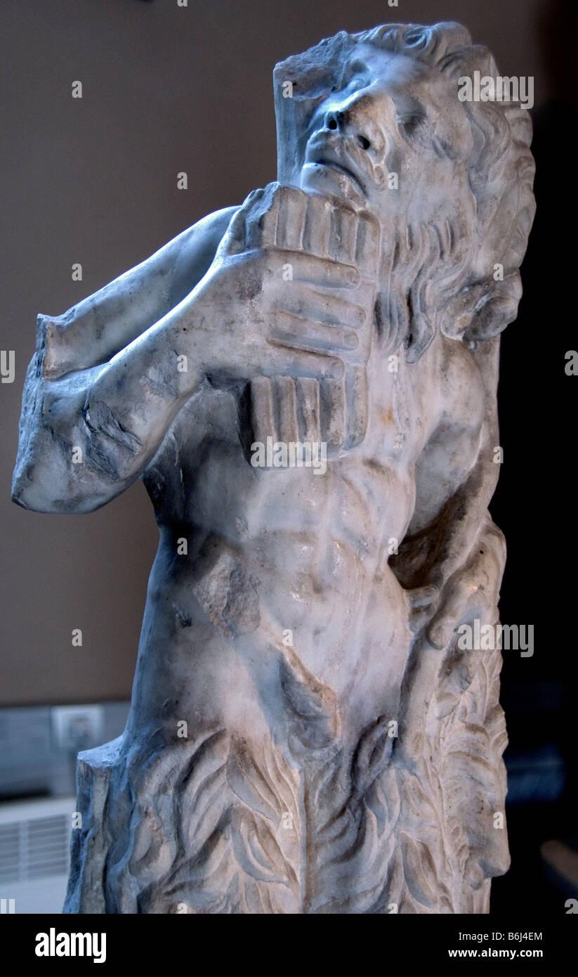 Pan god of shepherds and pastures marble Tyrnovo Tirnovo Roman beginning of the 3rd century AD - Stock Image