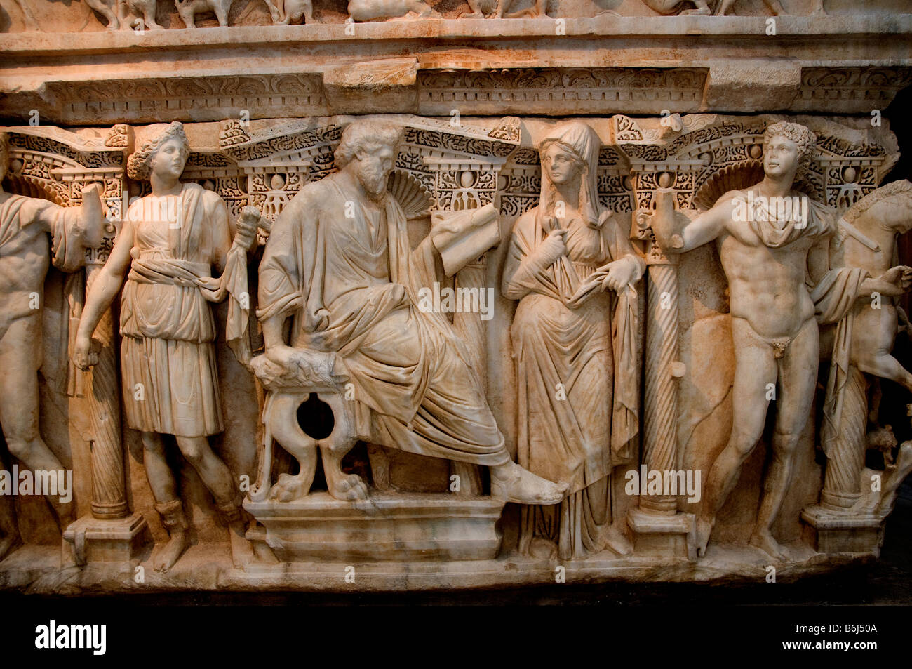 Sarcophagus with depiction of Phaedra Hyppolite marble Tripoli Trablussam Roman Period 2nd century - Stock Image