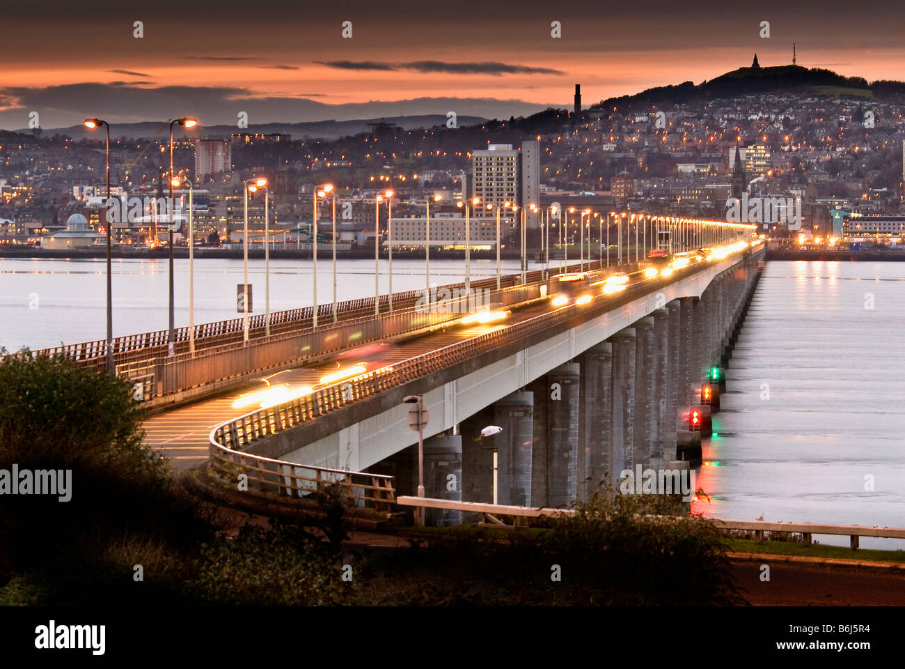 The Tay road bridge across the river Tay at Dundee in Scotland looking from the Fife bank towards the city and the - Stock Image