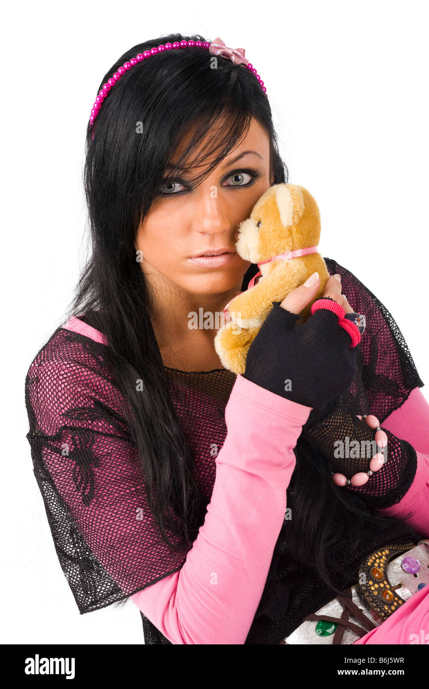 EMO girl with toy bear - Stock Image
