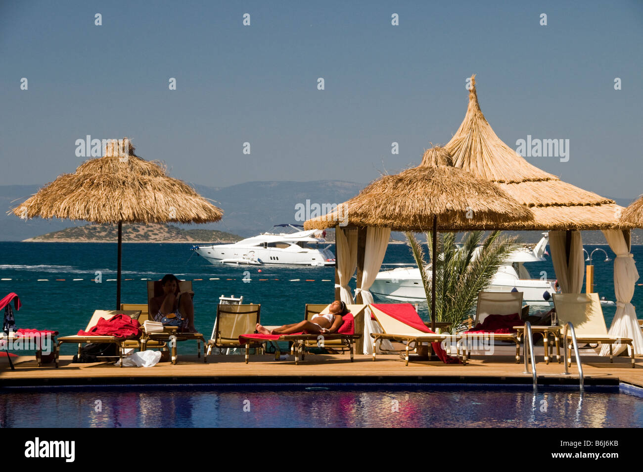 Turkbuku beach clubs, Bodrum Turkey. - Stock Image