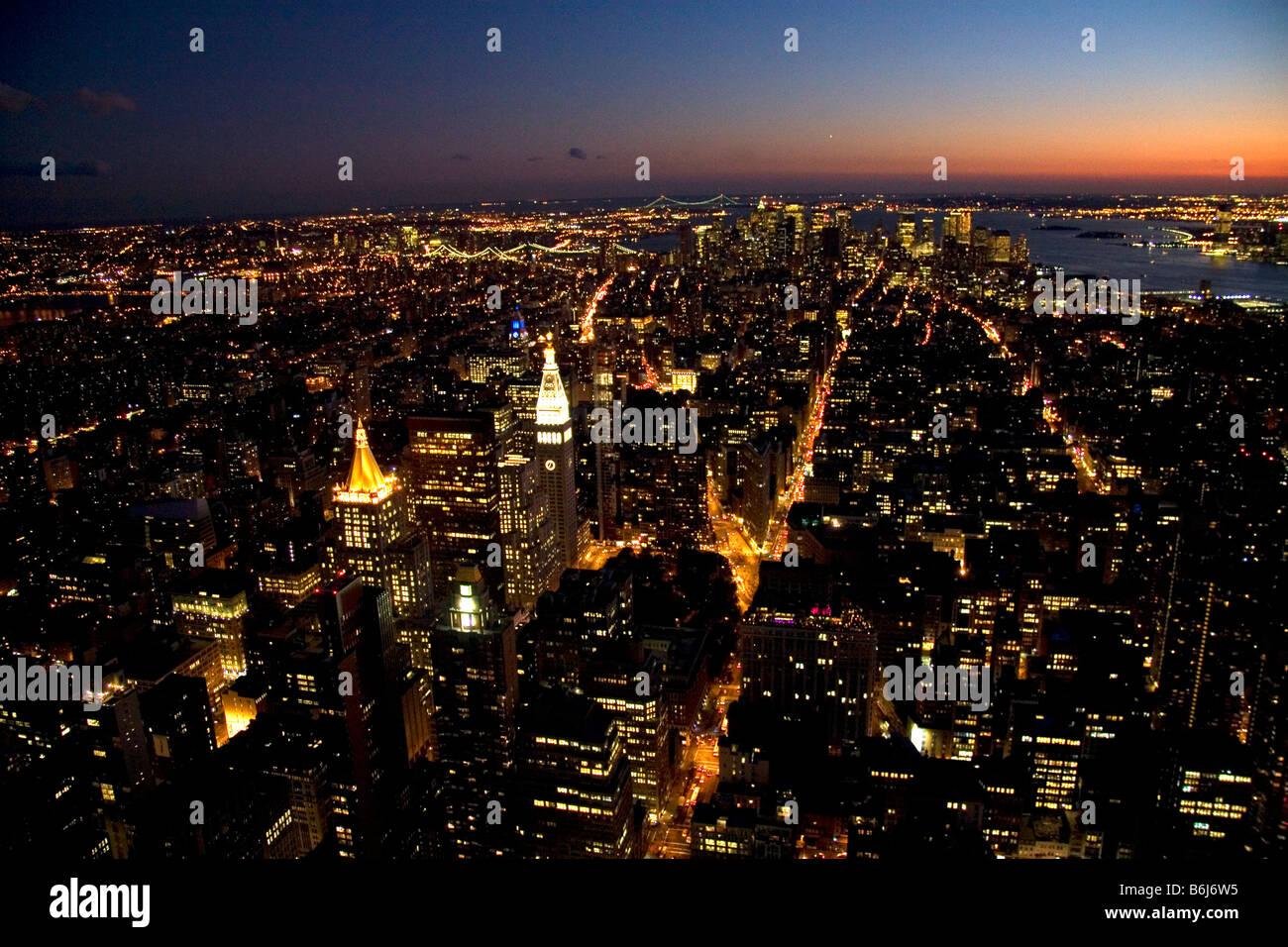 Night views of New York City New York USA - Stock Image