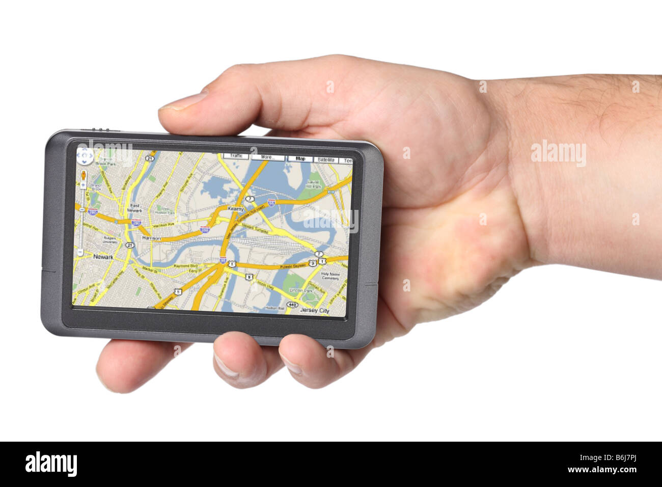 Portable GPS device in hand cutout on white background Stock Photo