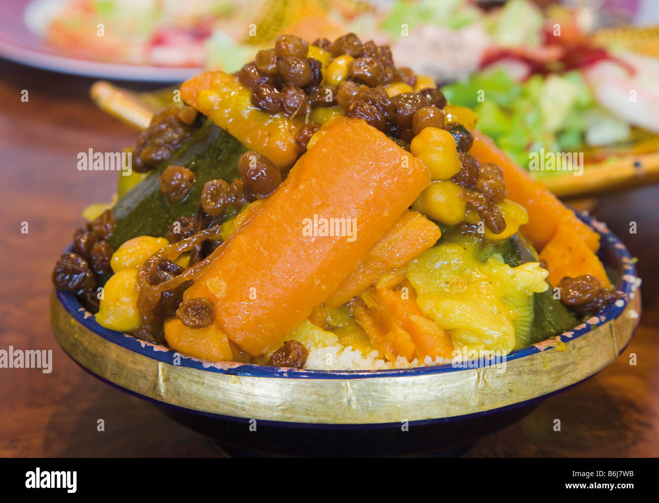 Plate of Morrocan cous cous - Stock Image