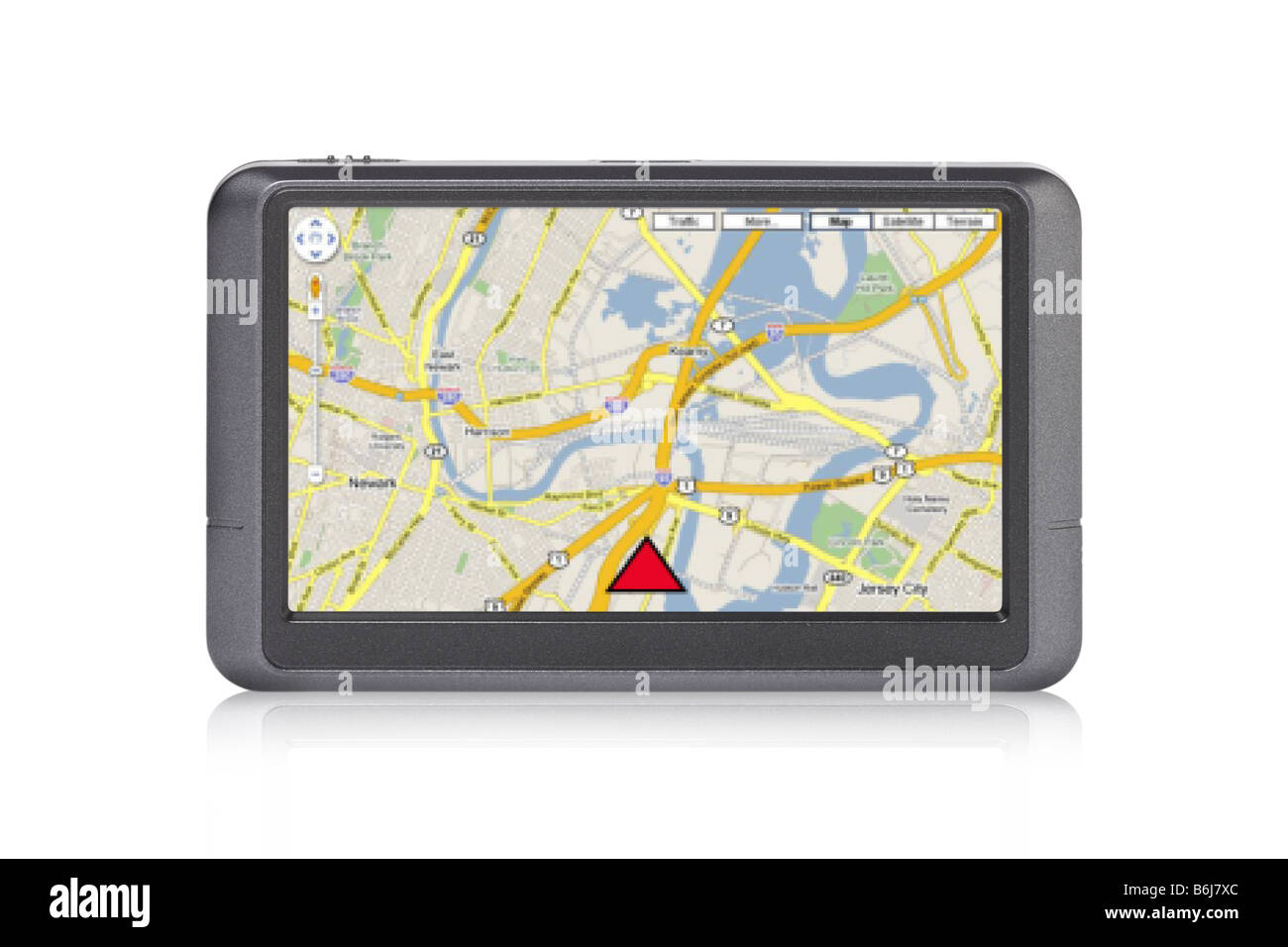 Portable GPS device with map on screen cutout on white background - Stock Image