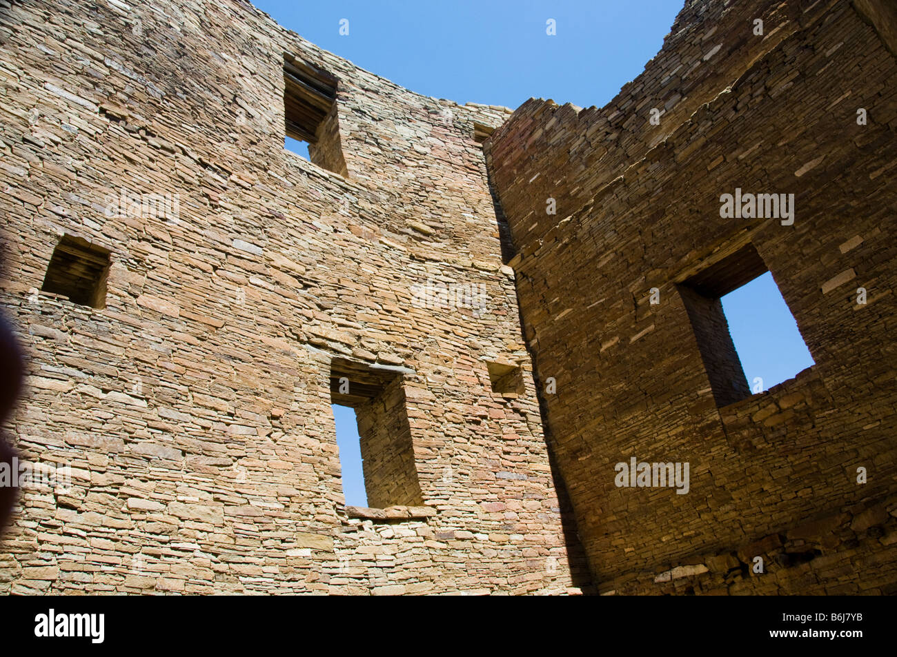 Rock dwellings at Chaco Culture National Historical Park New Mexico - Stock Image
