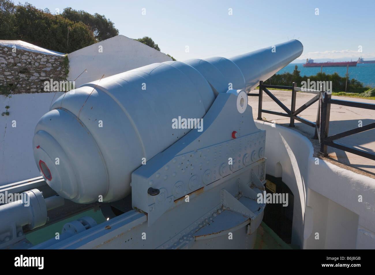 Gibraltar 100 ton gun dating from 1880 s at Napier of Magdala Battery Rosia Bay Stock Photo