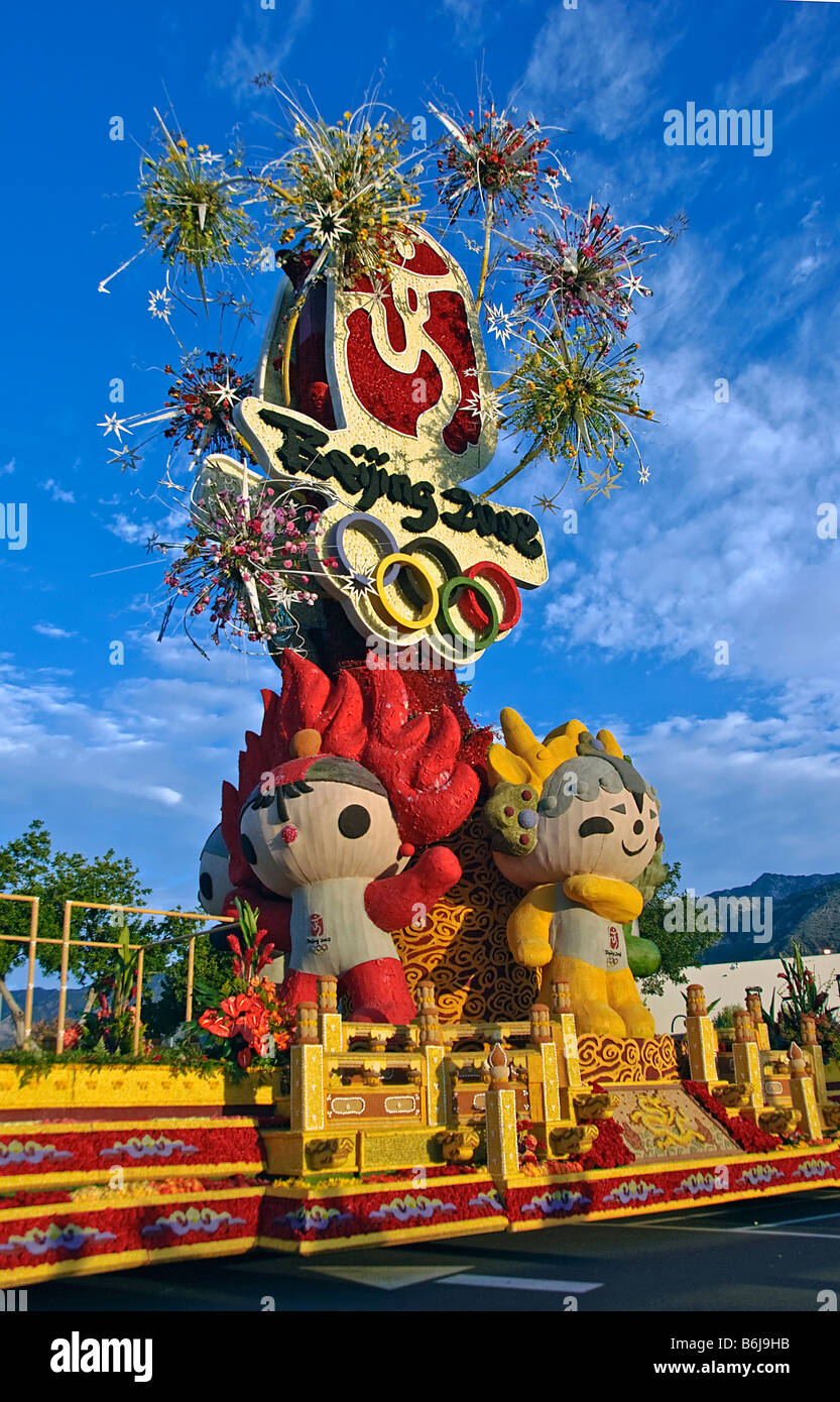 Rose Parade Float Chinese 2008 Beijing Olympic Games adorned with Olympic mascots and flanked by plate-twirling Stock Photo