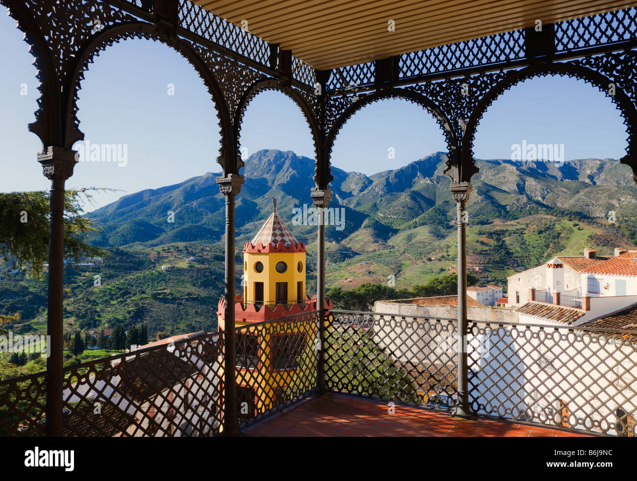 Carratraca Malaga Province Spain Balcony of 19th century Doña Trinidad Grund palace now Town Hall - Stock Image