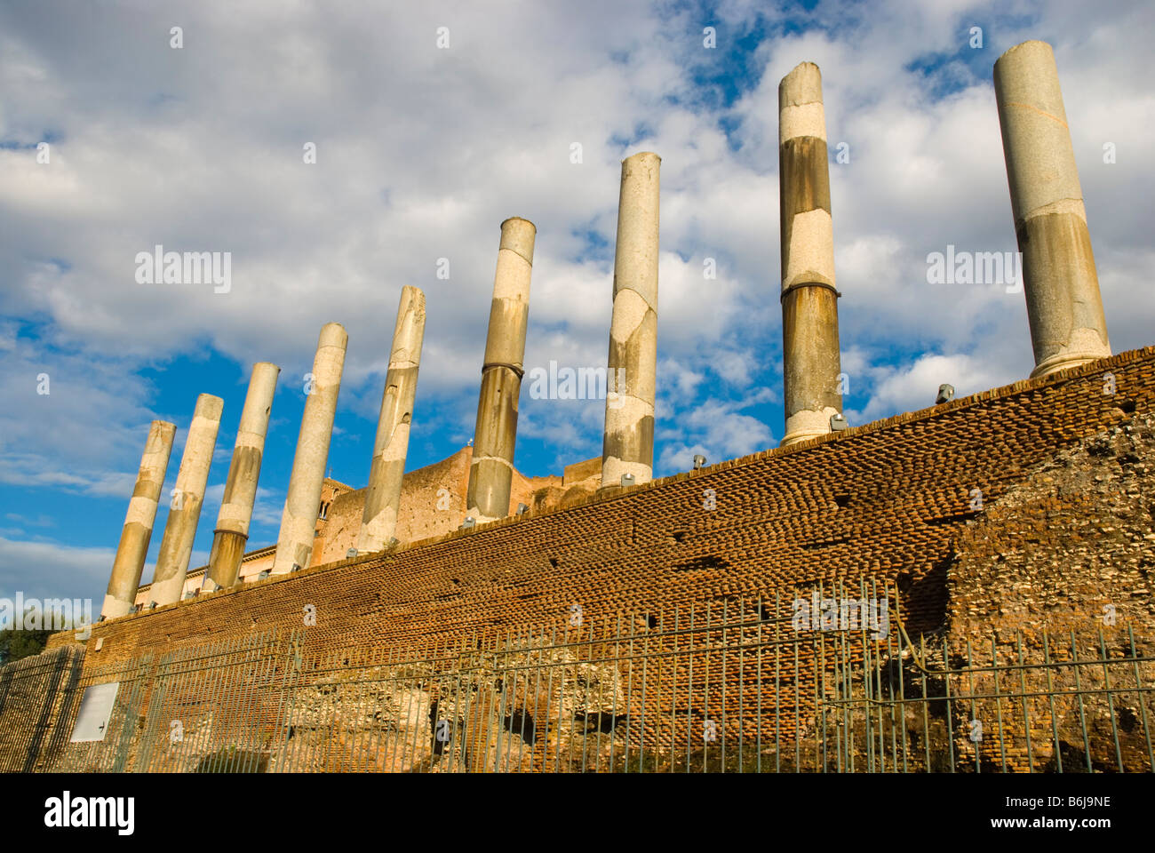Ruins at Foro Romano the Roman Forum in Centro storico the historical centre of Rome Italy Europe - Stock Image