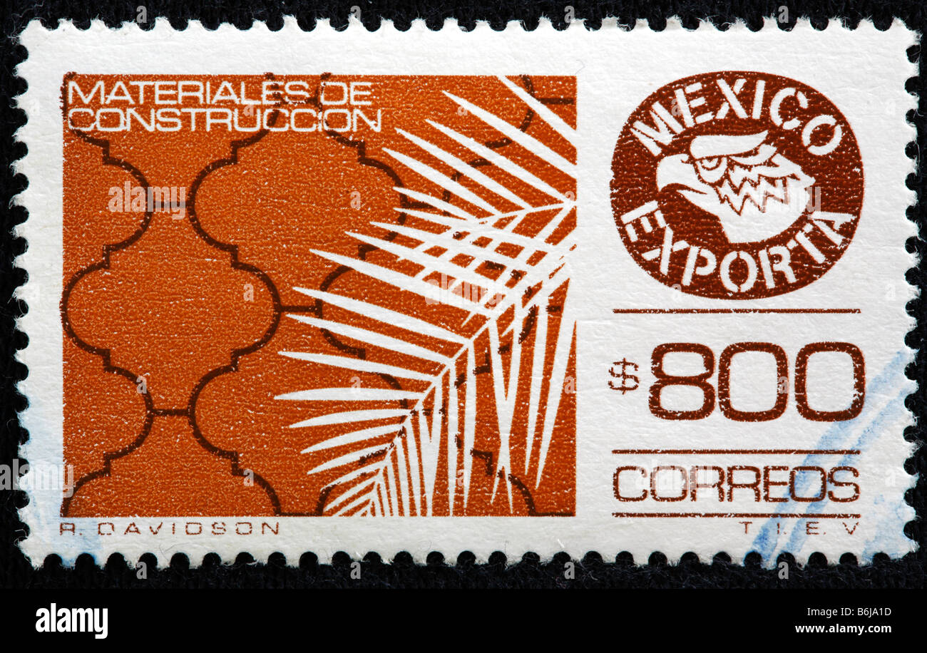 Mexican export, postage stamp, Mexico - Stock Image