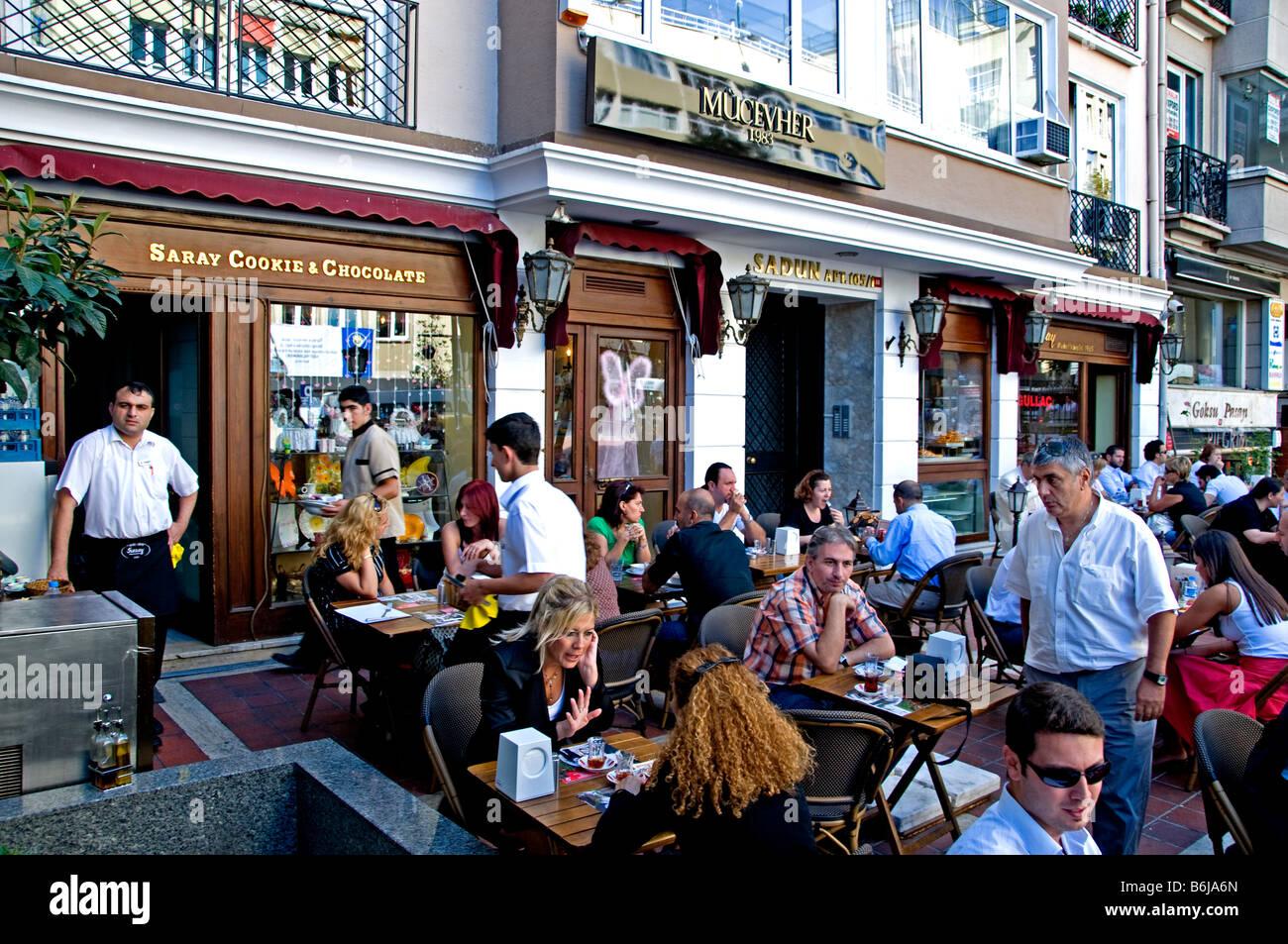 terrace Istanbul modern Kabatas shopping street quarter Turkey Stock