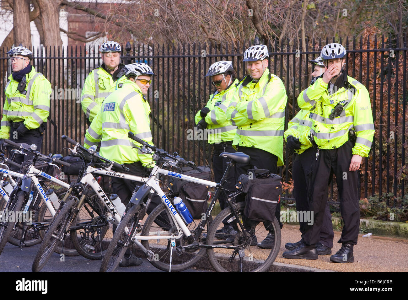 Police cyclists policing at a climate change rally in London December 2008 - Stock Image