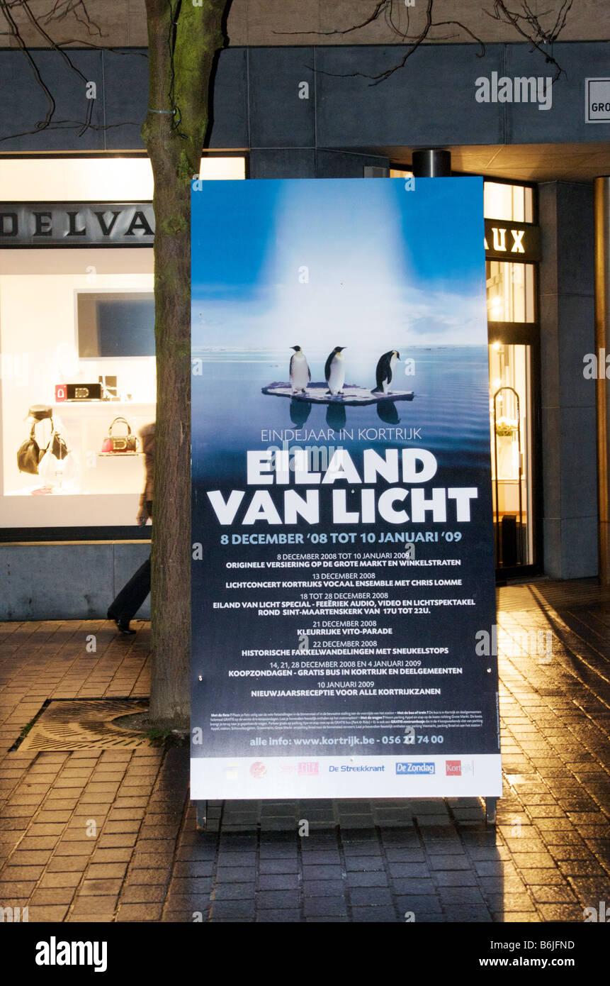 A poster for 'Eiland van Licht' - Isle of light in Kortrijk, Belgium - Stock Image