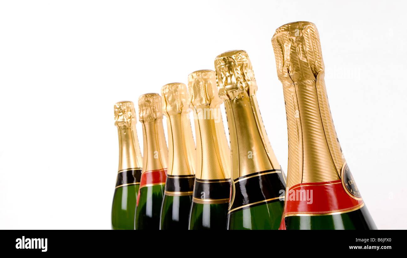 "A group of Champagne bottle necks ""no branding"" Stock Photo"