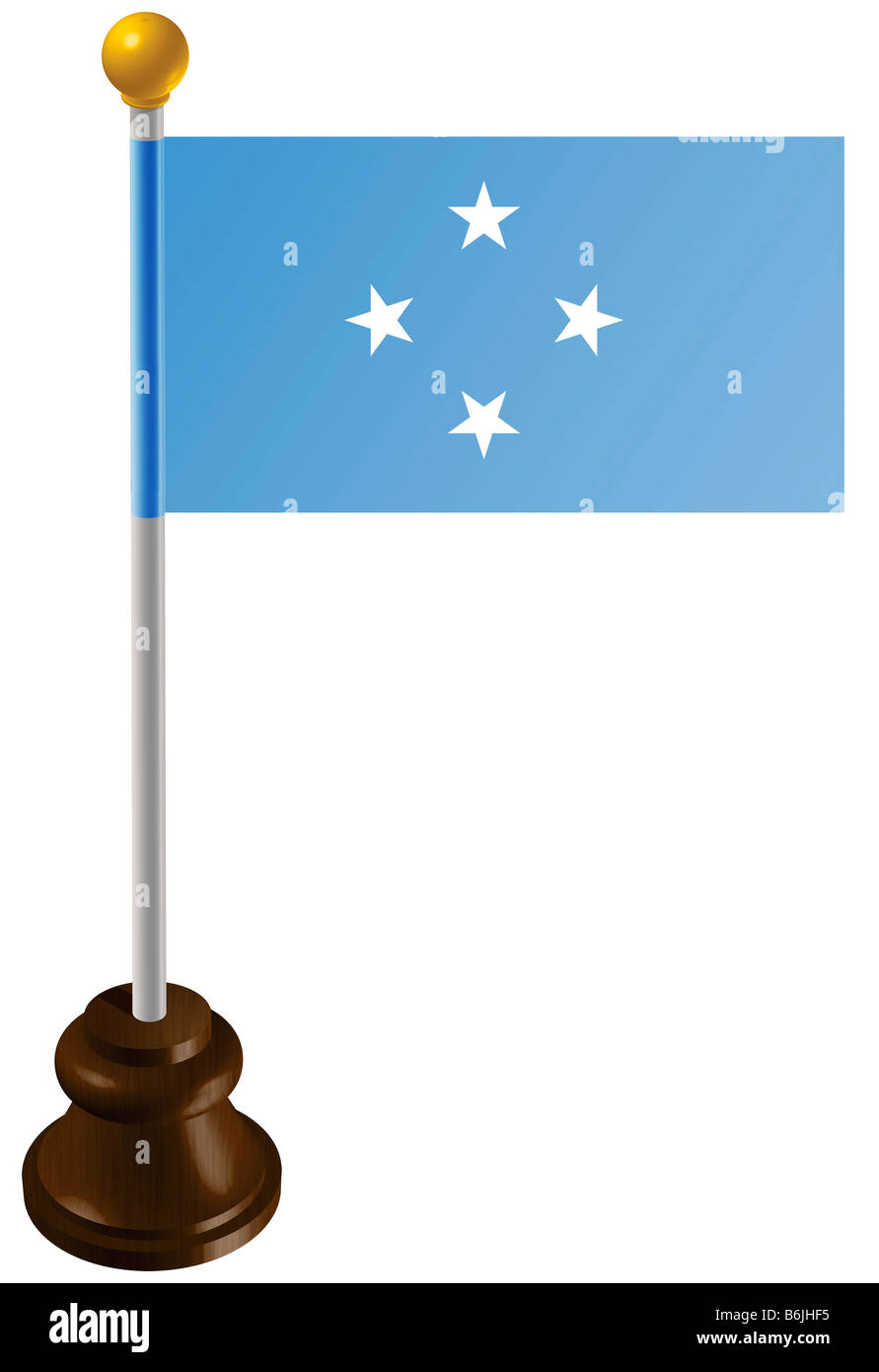 Micronesia flag as a marker - Stock Image