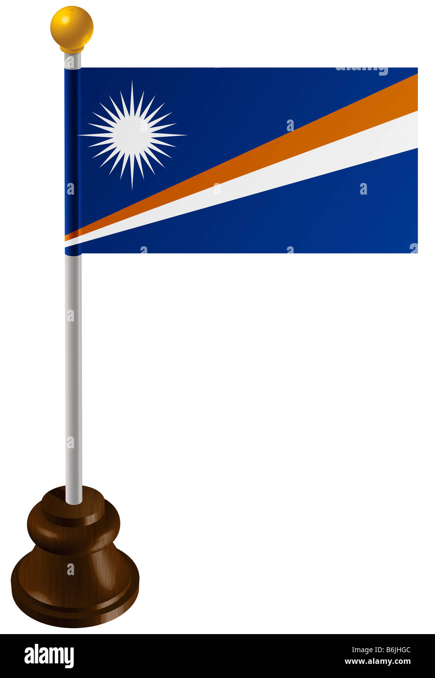 Marshall Islands flag as a marker - Stock Image