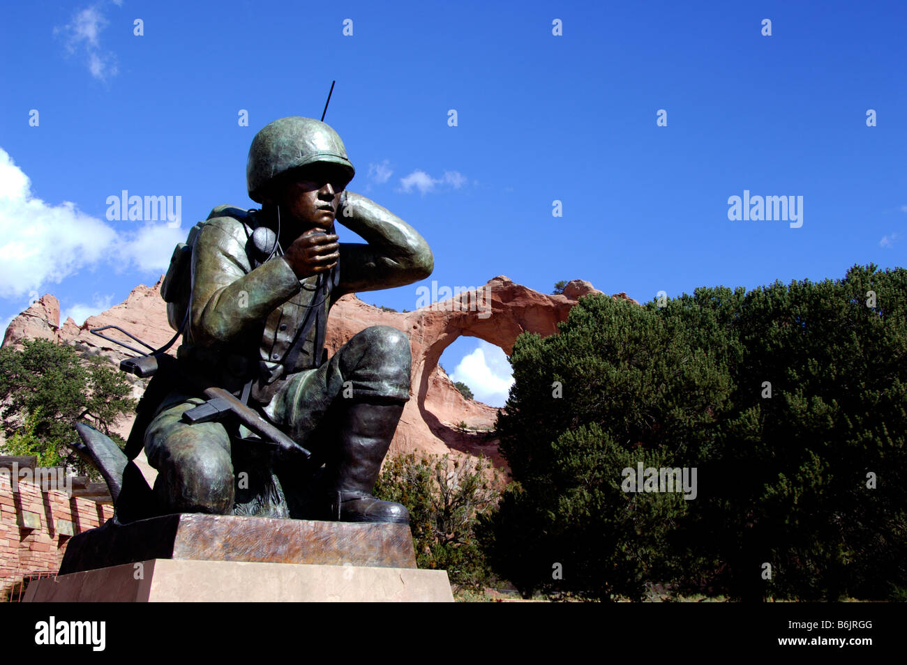 Arizona, Window Rock. Monument to Navajo Code Talkers. Capital of the Navajo nation & seat of tribal government. - Stock Image
