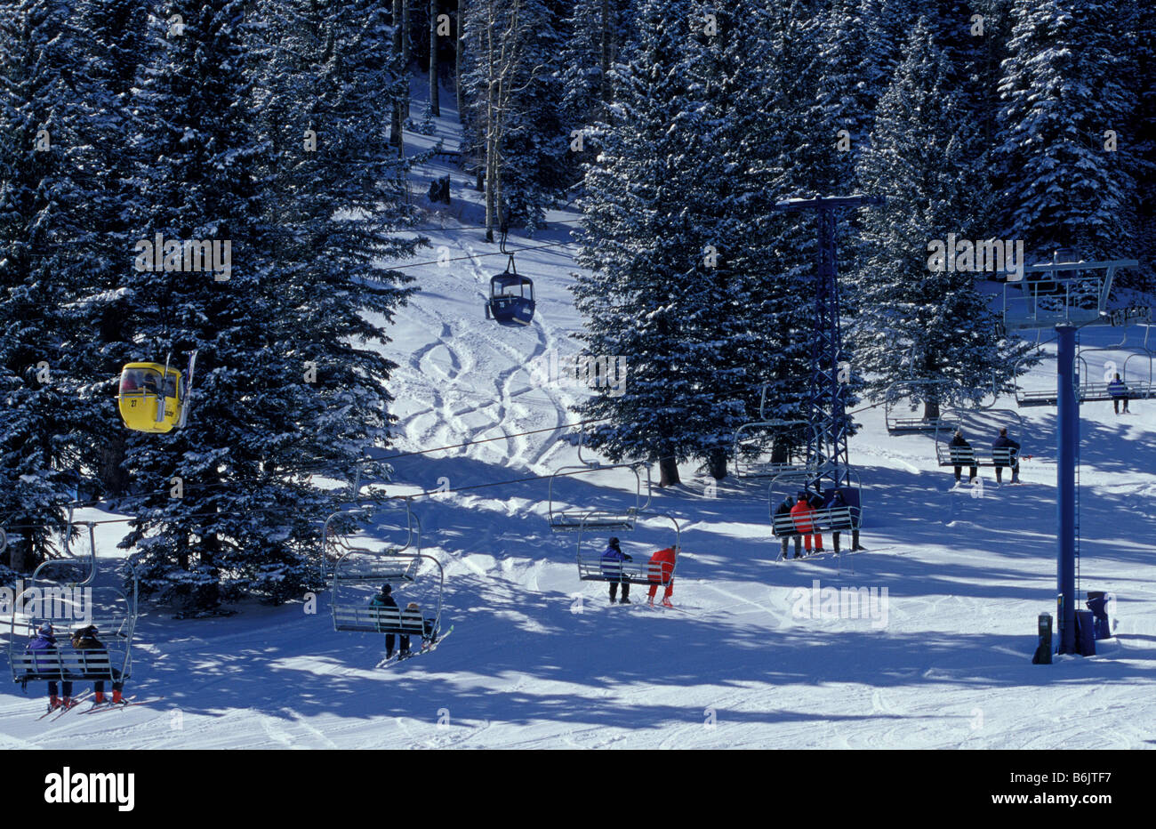 usa, new mexico, ruidoso gondola lifts in ski apache resort stock