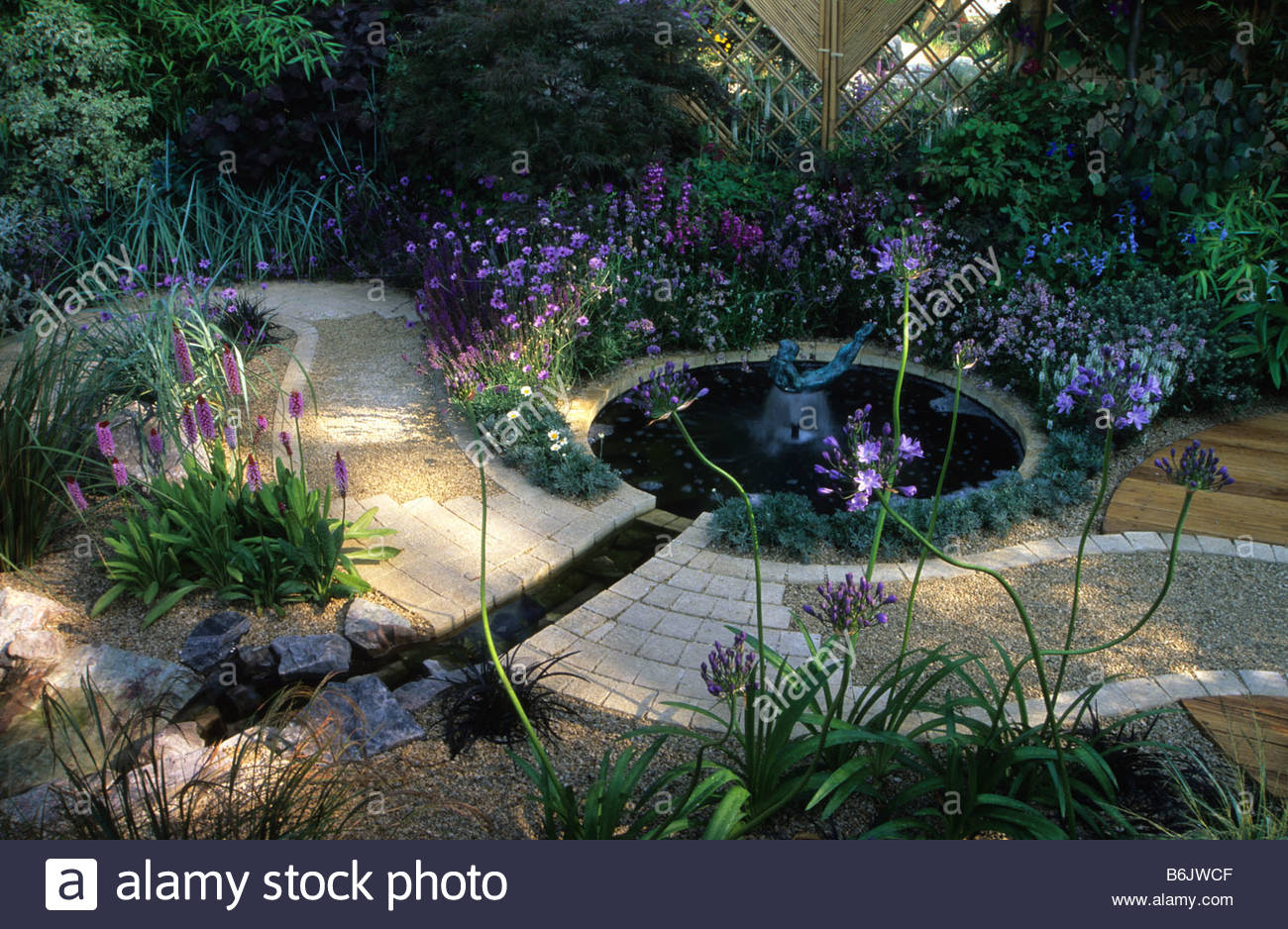 Superb Feng Shui Garden Design Pamela Woods Formal Circular Pool With Sculptural  Fountian Winding Path And Cool Colour Planting