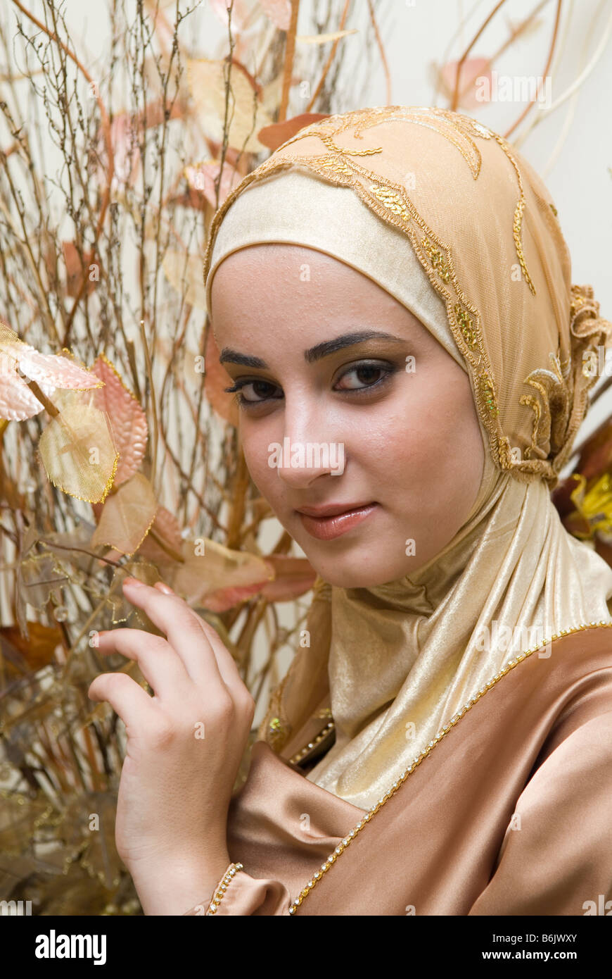 Beautiful young Muslim woman wearing Hijab - Stock Image