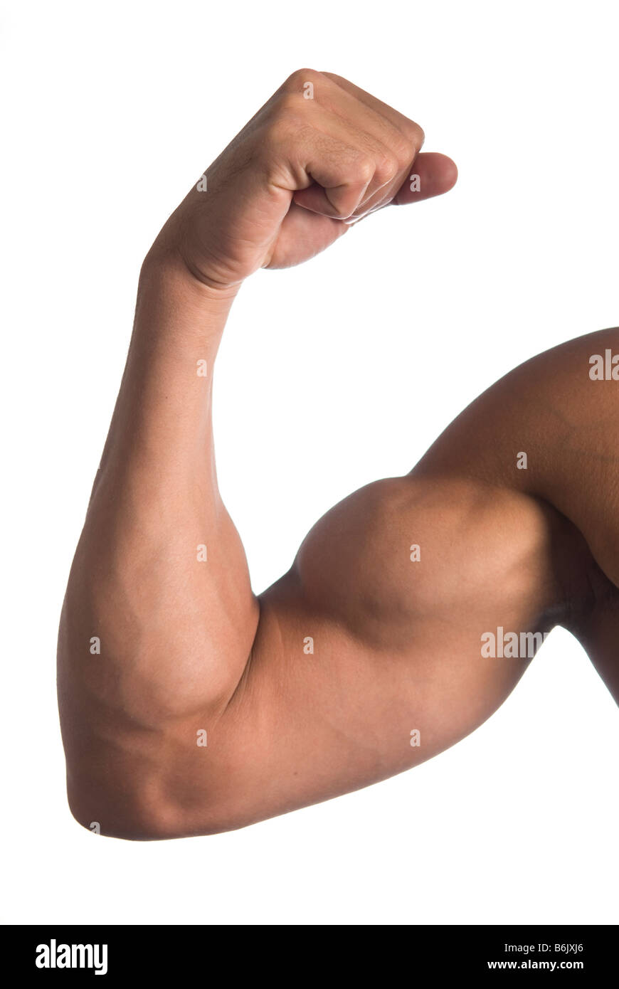 Man flexing bicep - Stock Image