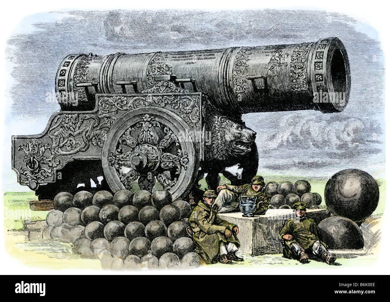 Russian artillery: the Tsar Puska or emperor cannon 1800s. Hand-colored woodcut - Stock Image
