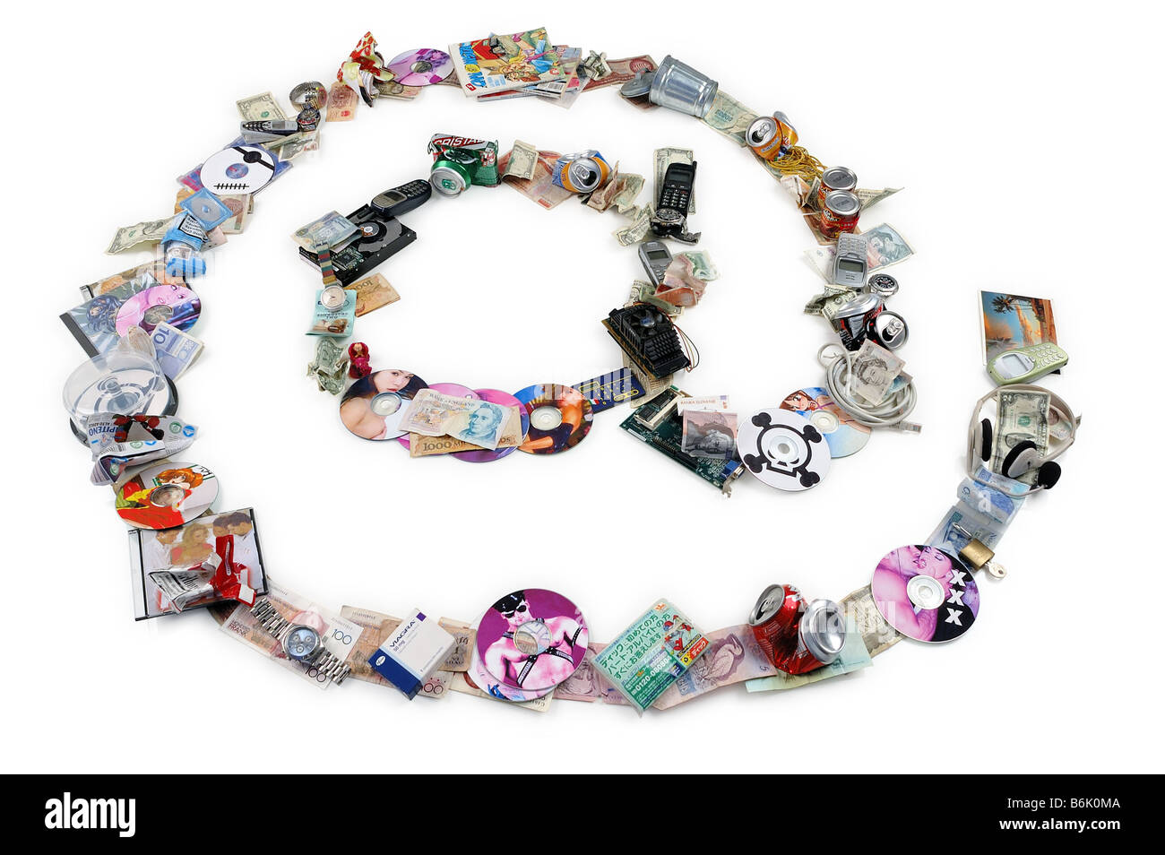 The @ (at) simbol composed with garbage. A symbolic representation of spam and junk mail - Stock Image