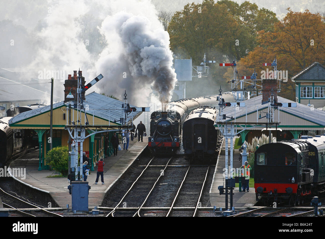 Great Western Railways Large Prairie Tank No 5199 arrives at Horsted Keynes Station. Picture by James Boardman - Stock Image
