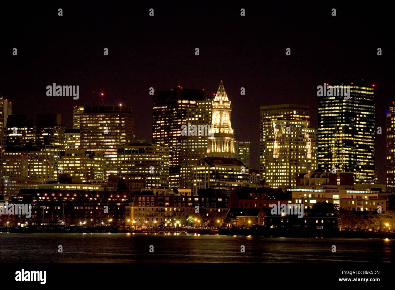 Boston skyline at night Massachusetts USA - Stock Image