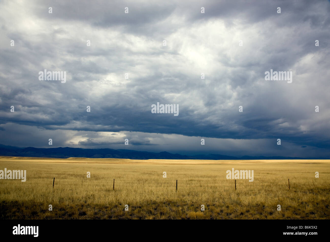 Ranchlands west of Rt. 287 towards the Shoshone National Forest - Stock Image