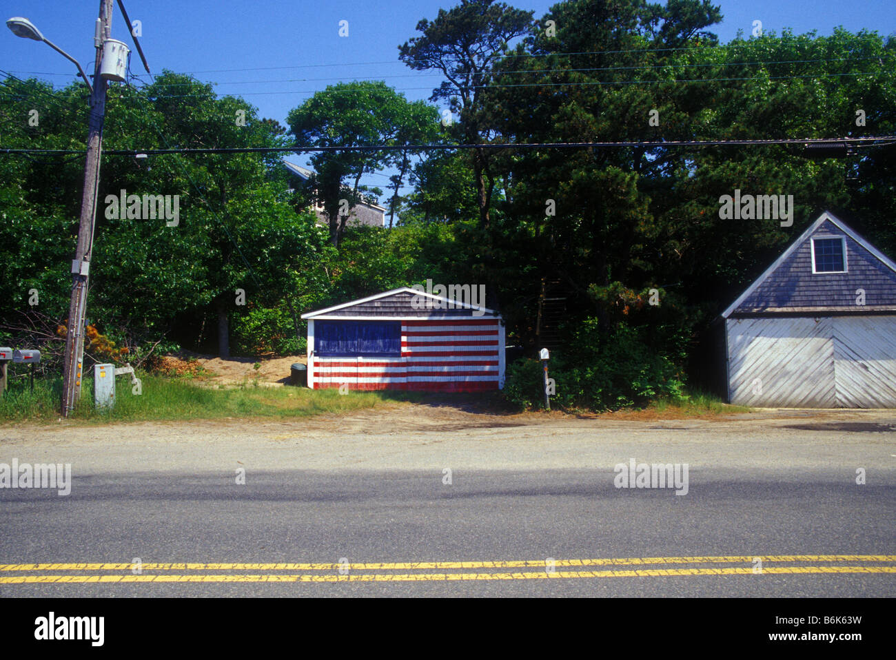 Garage door painted with an American Flag design Cape Cod